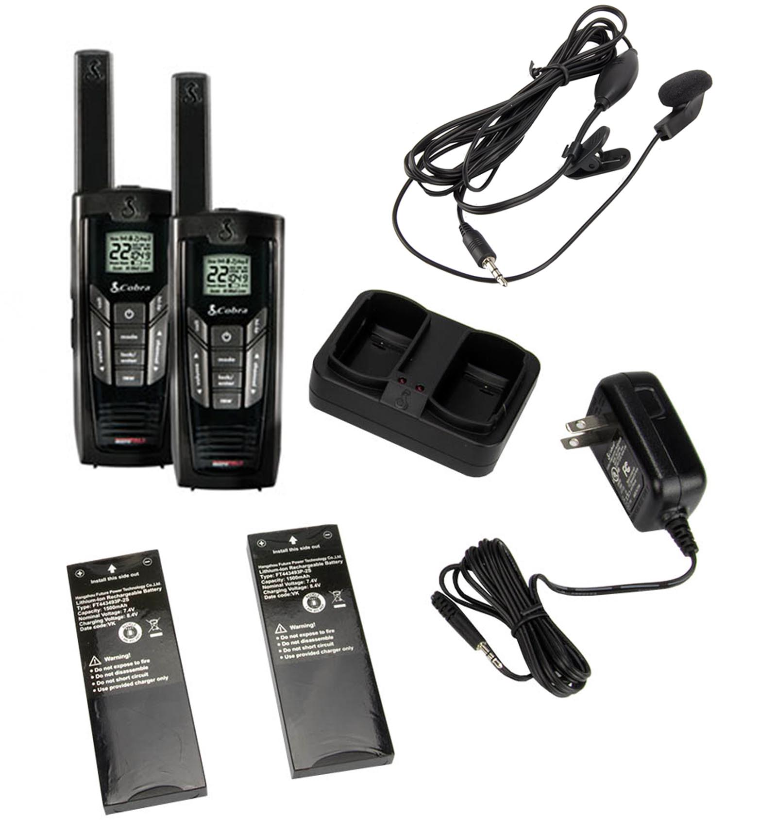CXR925 + GA-EBM2�Cobra CXR925 22-Channel 35-Mile Two-Way Radio + Earbud & Mic