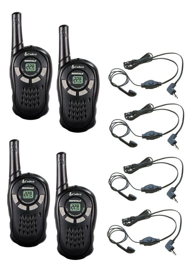CX110 + 4 x GA-EBM2�(4) Cobra CX110 Walkie Talkie 2-Way Radios + (4) Headsets