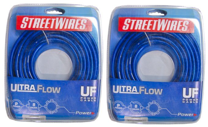 2 x UFX820B�Streetwires UFX820B 8 Gauge Power Cable 20 Ft (Pair)