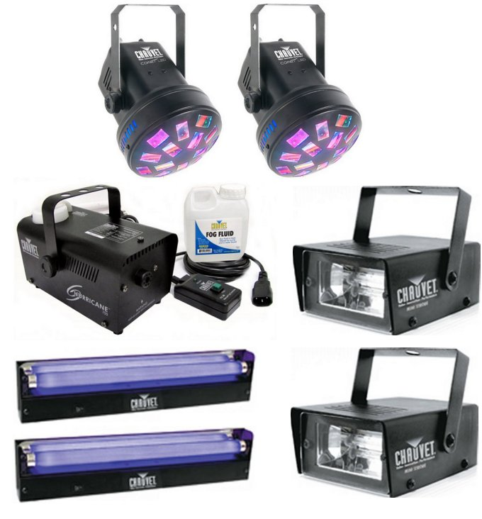 COMET + H700 + 2 x CH-730 + 2 x NV-F18�Chauvet Comet LED Pro DJ Rotating Lights (Pair) + Fog Machine + Strobe & Blacklights