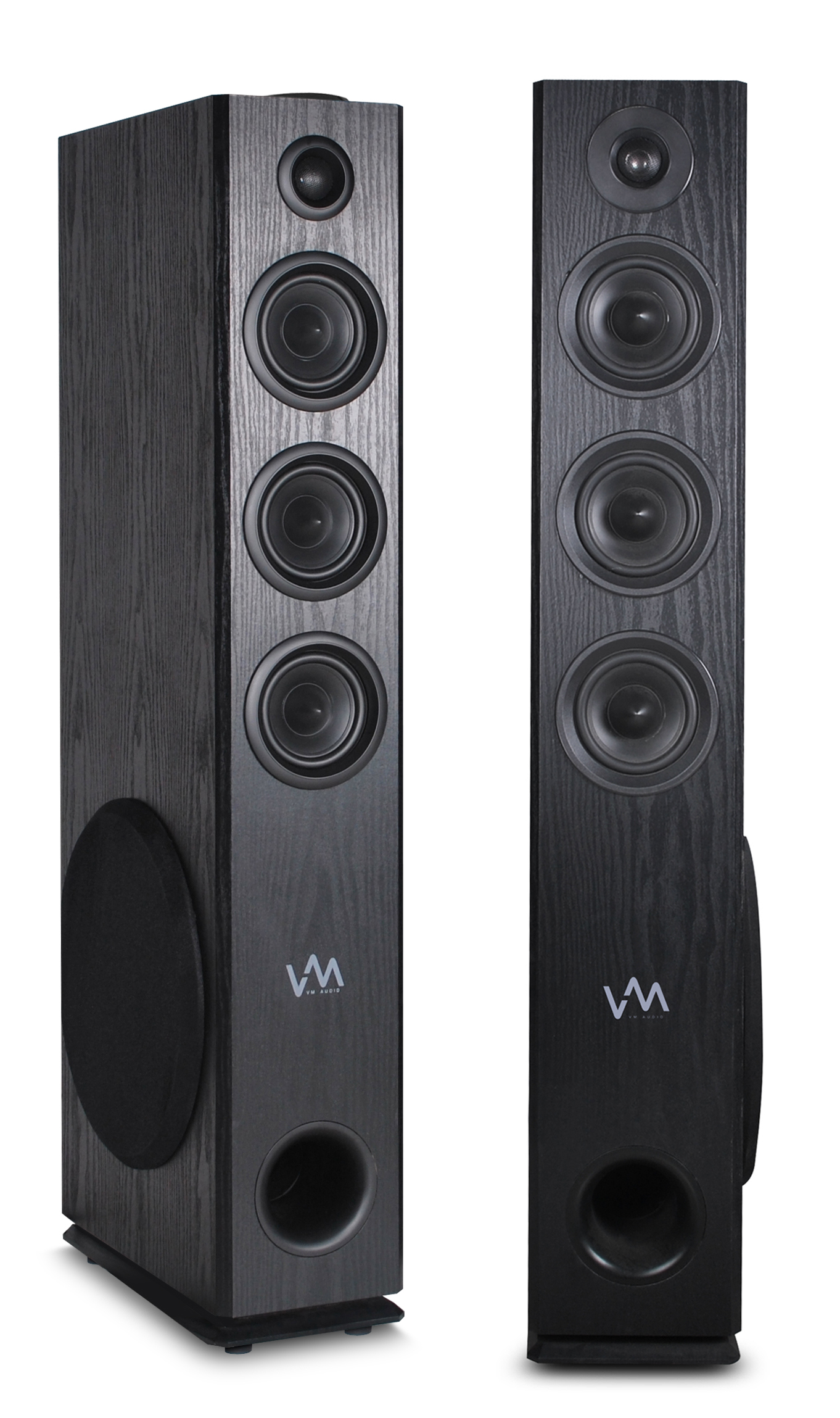 VM Audio EXAT31 Black Floorstanding Powered Bluetooth Tower Home Speakers Pair