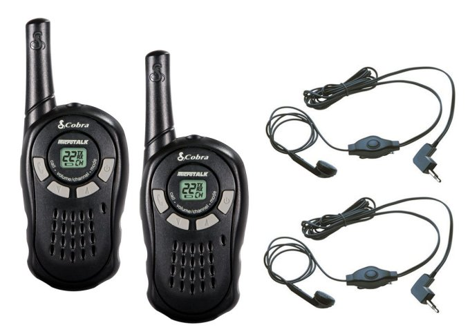 CX110 + 2 x GA-EBM2�(2) Cobra CX110 Walkie Talkie 2-Way Radios + (2) Earbud/Mic Sets