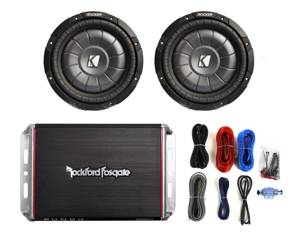 2 kicker cvt8 8 quot 800w subwoofers rockford fosgate pbr300x4 300w amp amp kit package