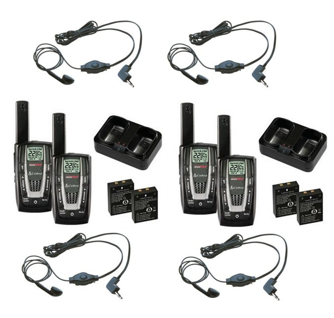 CXR725 + 4 x GA-EBM2�CXR725 - (2) Pair of COBRA 22 Channel FRS/GMRS Walkie Talkie 2-Way Radios + (4) Headsets