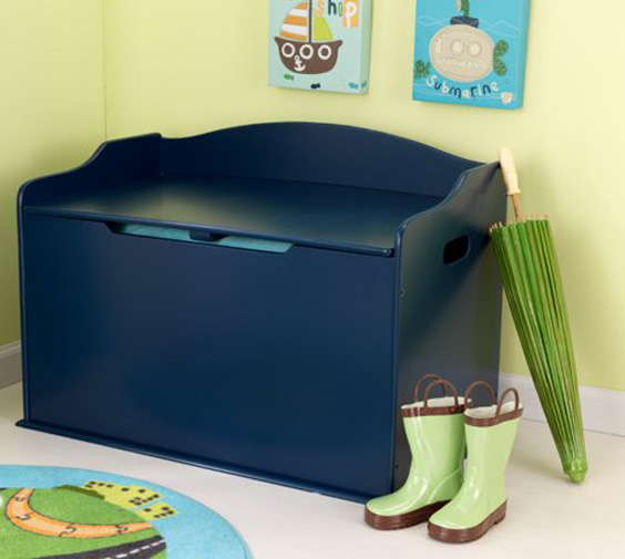 14959�KidKraft Austin Wood Toy Box & Bench - Blueberry