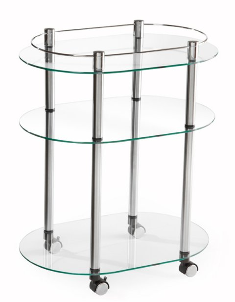 R2-220�Accsense Modern Glass Kitchen Bar Rolling Serving Cart