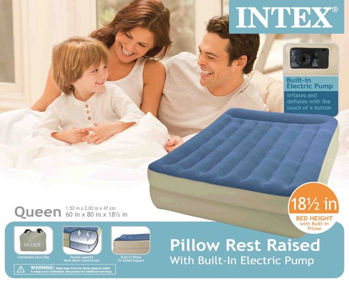 67713E�INTEX Queen Pillow Rest Airbed with Built-in Pump | 67713E