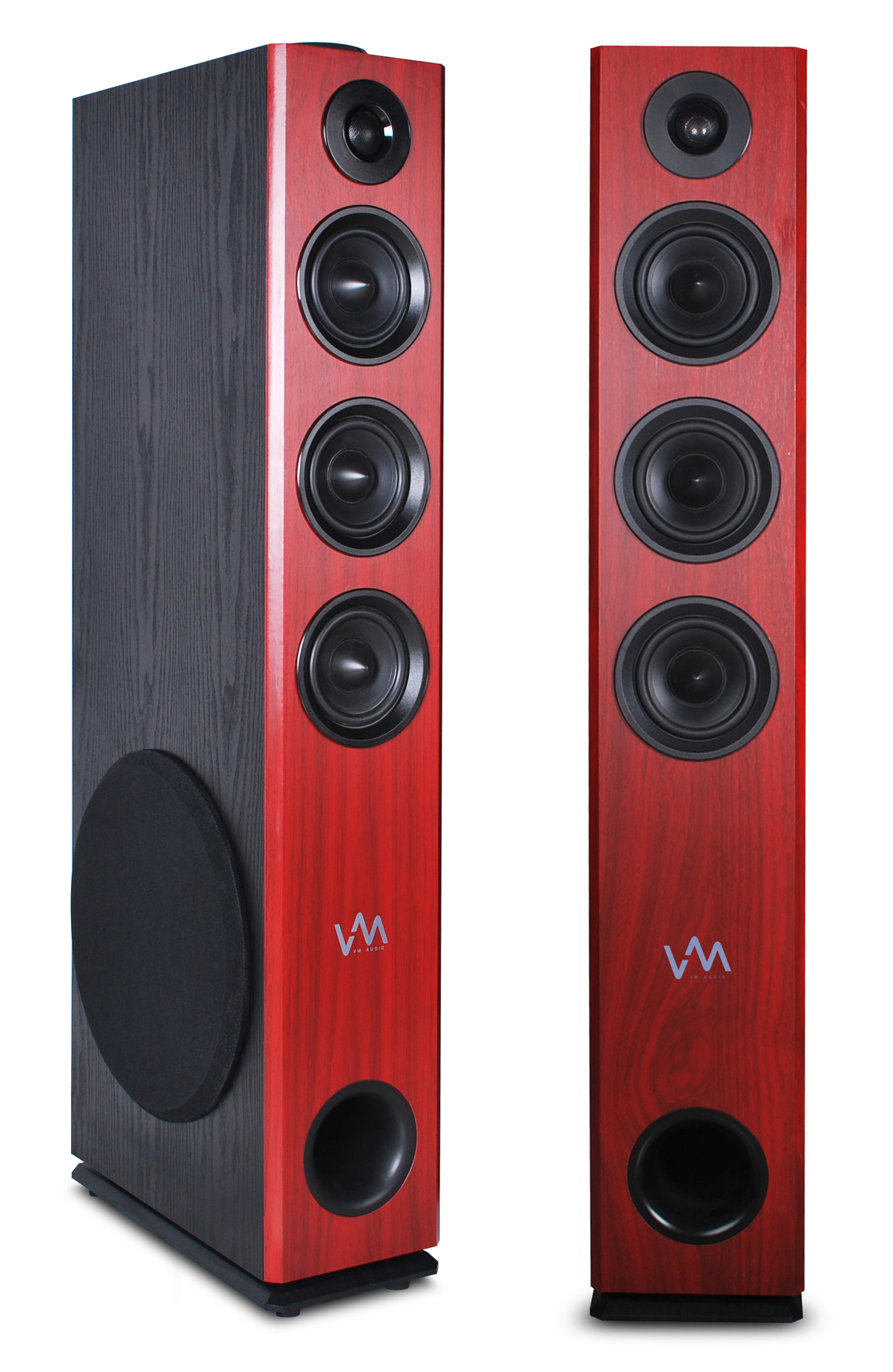 VM Audio EXAT32 Cherry/Black Floorstanding Powered Bluetooth Tower Speakers Pair