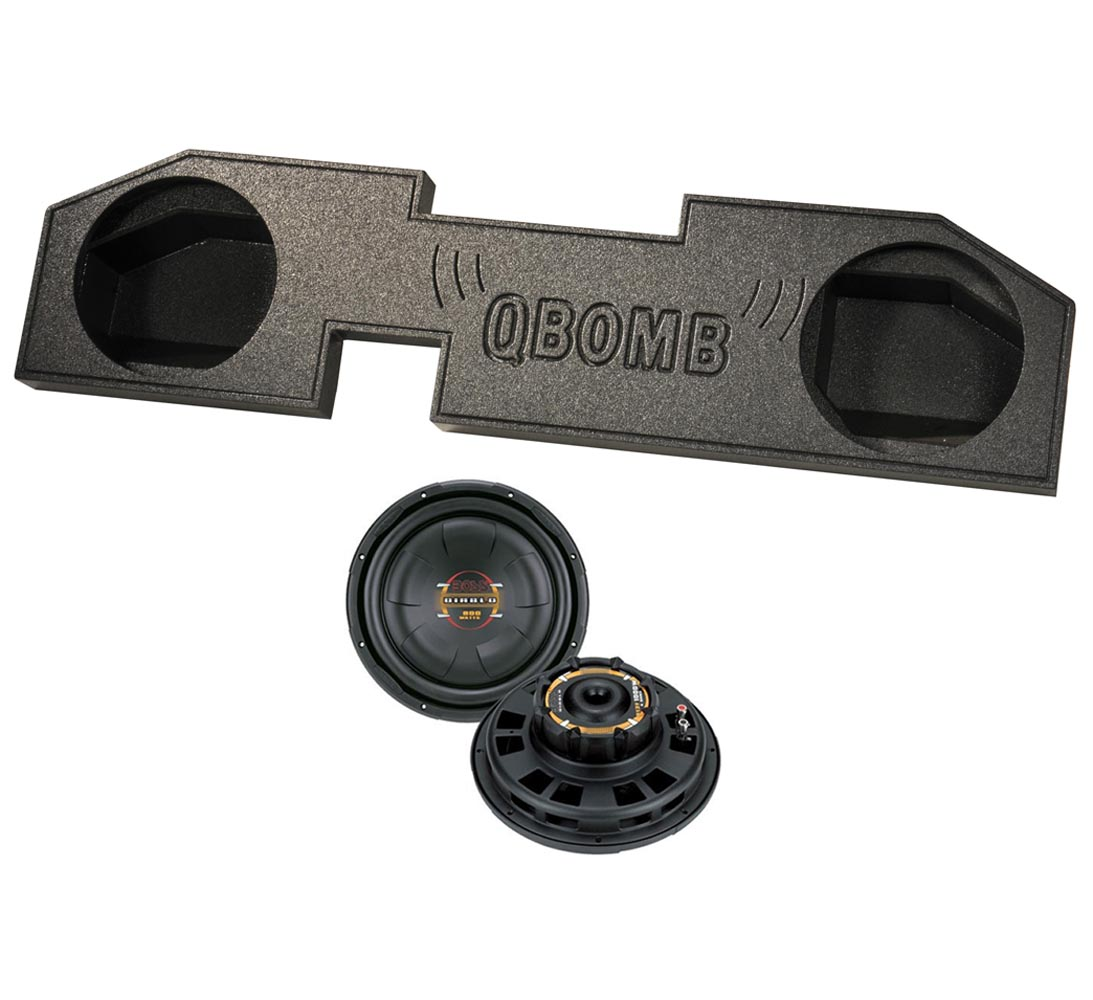 "Q-Bomb Dodge Ram Quad Cab '02-Newer 10"" Sub Box + (2) Boss ..."