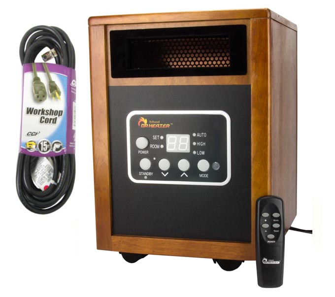DR-968 + 035363323�Dr. Infrared Heater DR-968 1500W Electric Infrared Quartz Portable Heater with 15' Cord