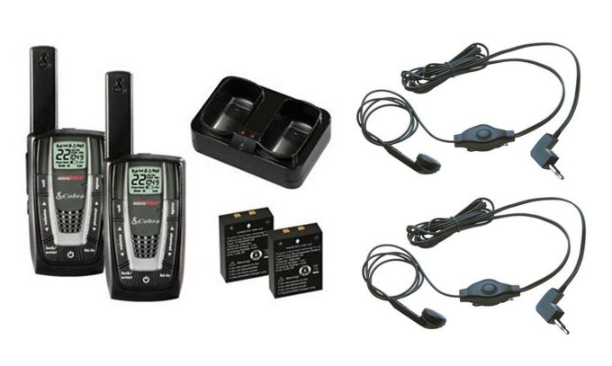 CXR725 + 2 x GA-EBM2�CXR725 COBRA 22 Channel FRS/GMRS Walkie Talkie 2-Way Radios + (2) Headsets