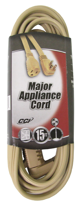 035363323�Coleman Cable 15-Foot Beige 14-Gauge Flat Vinyl Major Appliance Extension Cord