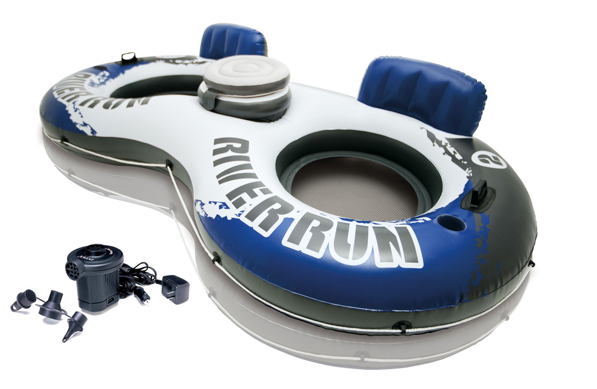 58827EP + 66619E�Intex River Run II Inflatable Tube w/ Cooler & Quick-Full Air Pump