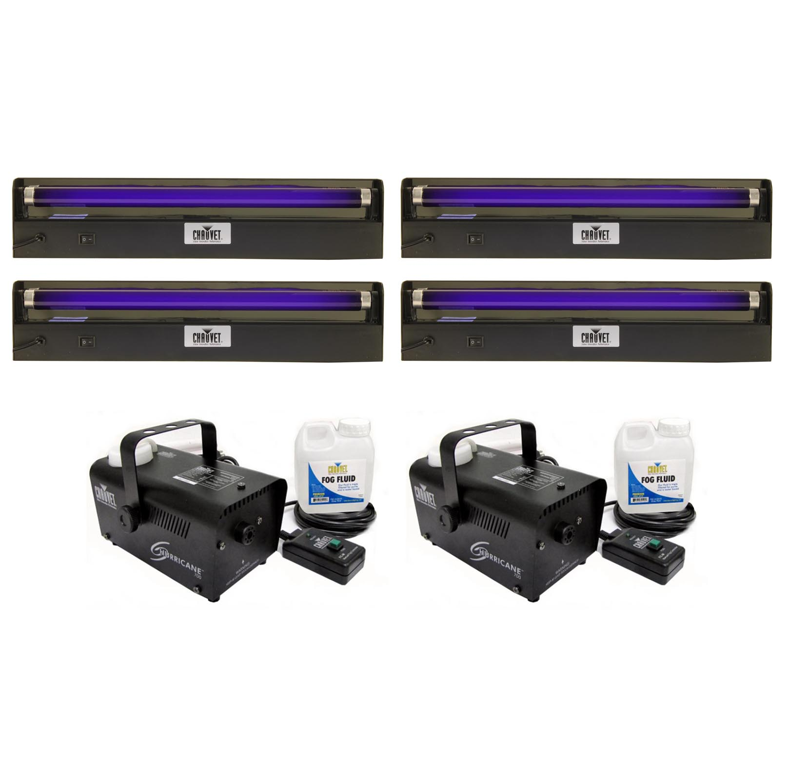 4 x NV-F18 + 2 x H700�Chauvet NV-F18 18-Inch UV Black-Lights (4) + H700 Fog Machines (2)