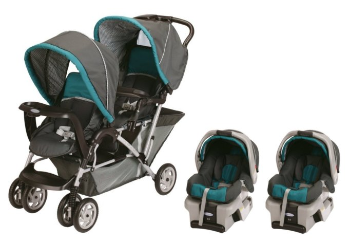 Graco DuoGlider Folding Double Baby Stroller w/ 2 Car Seats Travel Set | Dragonfly