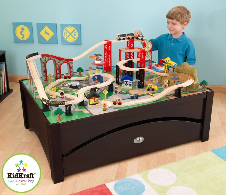 KidKraft New Metro Wooden Train Table & Set with Trundle