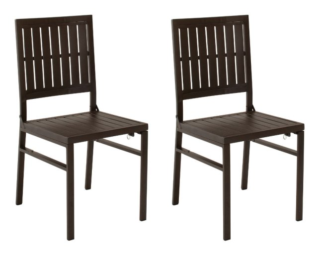 87211SBD2E�COSCO Smartfold Metal Outdoor Furniture Folding Slat Dining Chair - Set of 2