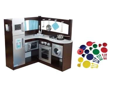 Kidkraft Grand Gourmet Uptown Espresso Kitchen Metal Cookware With Dishware Set 53302
