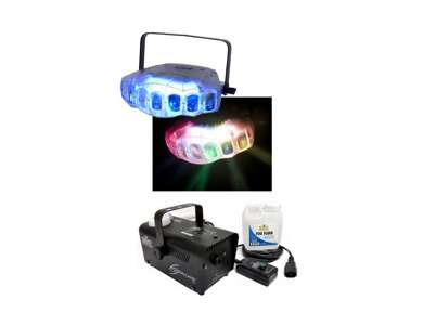 Jel856 American DJ JellyFish Derby Dmx Light w/ Chauvet H700 Fog Machine