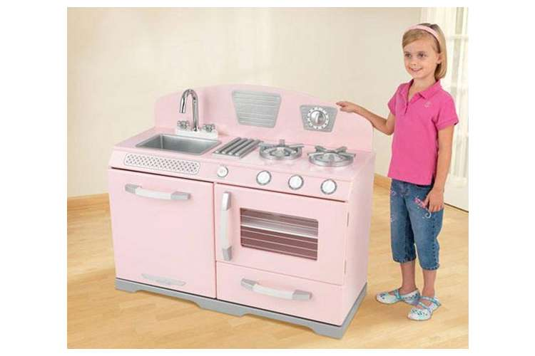 Kidkraft pink retro kitchen stove oven girls play set for Girls play kitchen