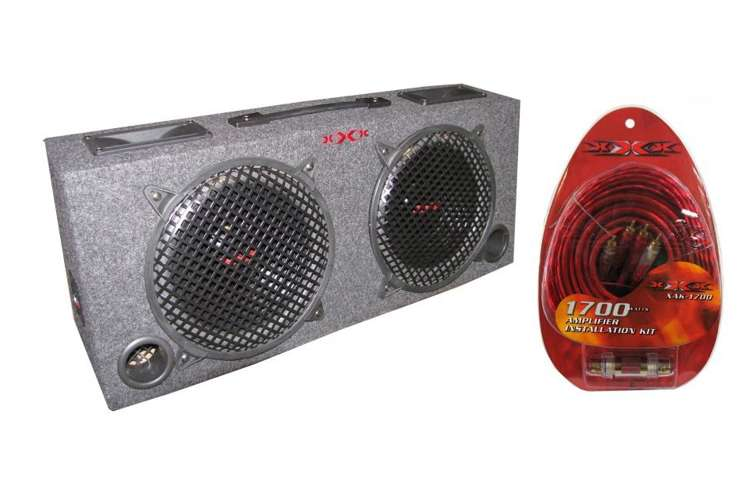 KIC100+XAK-1700�Xxx 2) 10-Inch Subwoofer Box 5-Inch Tweeters with Amp Kit